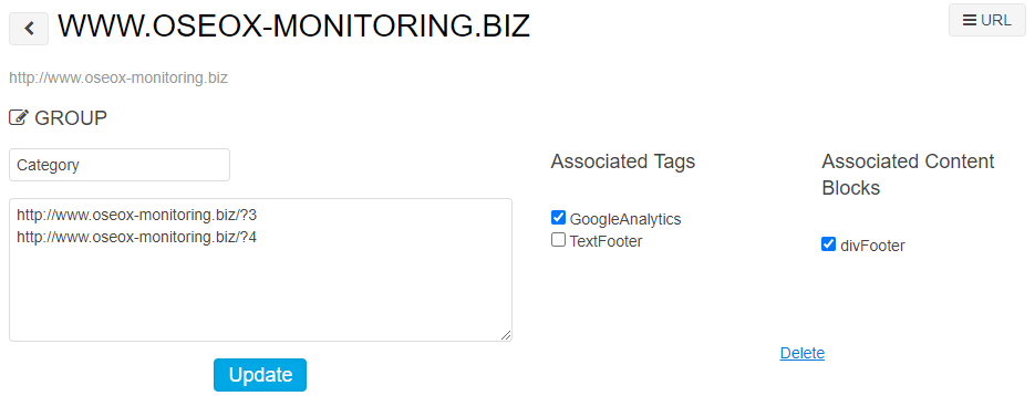 Oseox Monitoring : categorization tag and content